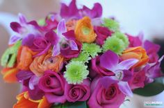 Bridal boquet in hot pink, orange and green, Wedding at Ahua Tulum Hotel by Diego Muñoz Photography