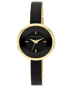 Anne Klein Watch, Women's Black Leather and Gold-Tone Bracelet 31mm AK-1232BKGB THE watch I want. Perfect!