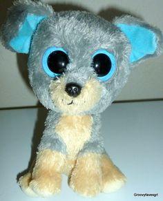 ac6527bf9df Beanie Boos Babies Gray Scraps Puppy Dog Tan Blue Big Eye 6