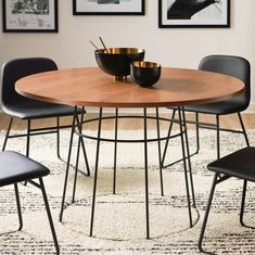 No matter the size of your dining room, the MoDRN Industrial Griffin Round Dining Table 's open-concept design will make it feel spacious. Used Chairs, Metal Dining Chairs, Glass Dining Table, Bar Chairs, Dining Chair Set, Room Chairs, Industrial Round Dining Table, Dining Area, Circular Dining Table