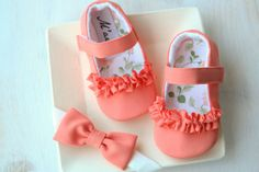 Coral baby shoes coral orange baby shoes by MartBabyAccessories