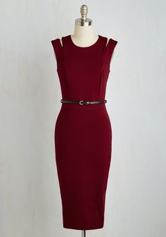 Sleek Critique Dress. Your status as guest panelist for the talent show was determined by your keen eye and exquisite taste, both of which are articulated by this burgundy sheath dress! #red #modcloth