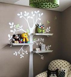 Vila do Artesão - Adesivo de árvore para decorar a parede do quartinho de bebê ou quartos de crianças com astral de jardim.
