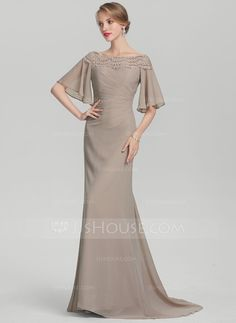 Trumpet/Mermaid Off-the-Shoulder Sweep Train Ruffle Lace Zipper Up Sleeves 1/2 Sleeves No Taupe General Plus Chiffon Height:5.7ft Bust:33in Waist:24in Hips:34in US 2 / UK 6 / EU 32 Mother of the Bride Dress