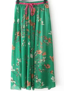Green Plum Flower Print Pleated Skirt