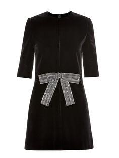 Babydoll crystal bow-front velvet mini dress | Saint Laurent | MATCHESFASHION.COM