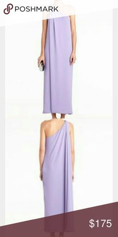 "Diane von Furstenberg Lilac Liluye Dress size 4 This one-shoulder crepe DVF dress features a split draped overlay. On-seam hip pockets. Hidden side zip. Ruching at 1"" strap. Lined. Diane von Furstenberg Dresses Maxi"