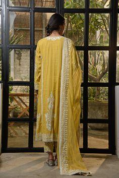 Pakistani Dress Design, Pakistani Dresses, Mustard Yellow, Designer Dresses, Embroidery, Fashion, Moda, Pakistani Gowns, Fashion Styles