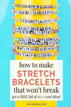 How To Make Stretch Bracelets (That Won't Break) - Amy Romeu Letter Bead Bracelets, Kids Bracelets, Stretch Bracelets, Friendship Bracelets, Friendship Crafts, Button Bracelet, Diy Bracelet, Bracelet Sizes, Teachers Day Gifts