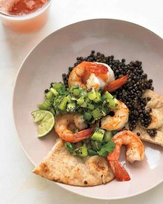 Shrimp with Kiwi-Lime Relish: = 1 1/2 tsp.   safflower oil per serving of 1/4 recipe. (For SFT count oil ONLY if you use > 2 tsp. healthy oil per day.) To Serve: may use cooked lentils; instead of naan use a PF pita like Joseph's Heart Friendly   Pita Bread, Weight Watcher's 100% Whole Wheat Pita Pocket Bread, or Toufayan Bakeries Small   Pockets 100% Whole Wheat with Multigrain Pocket Pita Bread OR make DIY Baked Corn Chips pinned at https://www.pinterest.com/pin/558939003731666374/