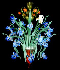 Murano glass chandelier Iris Van Gogh with 24 lights Murano Chandelier, Antique Chandelier, Chandelier Lighting, Lustre Floral, Lustre Antique, Contemporary Chandelier, Iris Flowers, Glass Ceramic, Glass Birds