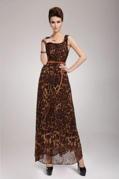 Leopard Print Scoop Neck Sleeveless Chiffon Retro Style Maxi-Dress For Women (AS THE PICTURE,L) | Sammydress.com