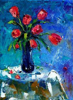 Red tulips in vase flowers still life by Debra Hurd, painting by artist Debra Hurd