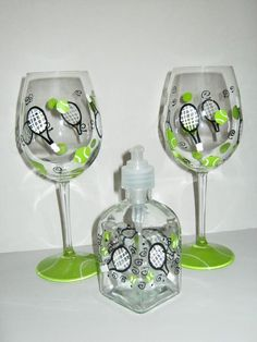 Total Tennis PackageHand Painted Tennis Wine Glass by jennifer347, $35.00
