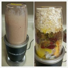 #Nutribullet #nutriblast Protein Fruit blast #raweggs #oatmeal #peanutbutter #flaxseed #strawberries #cantalope #watermelon #coconutmilk