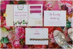 Maroon and pink wedding invitation set. Nassau Valley Vineyard Delaware Wedding. Laura's Focus Photography.