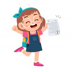 Happy cute kid girl have good exam mark .