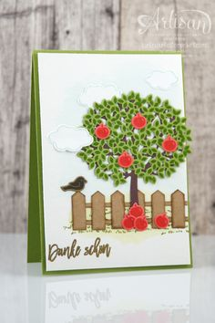 handmade thank you card . Thoughtful Branches apple tree and picket fence scene .Stampin' Up! Handmade Thank You Cards, Greeting Cards Handmade, Hand Stamped Cards, Stampinup, Stampin Up Catalog, Stamping Up Cards, Marianne Design, Fall Cards, Homemade Cards