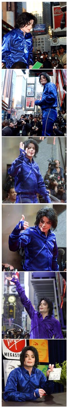 Michael Jackson at times square virgin megastore appearance in New York City 2001.