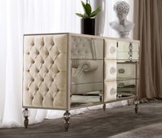 Dolfi Capitonnè | chest of drawers* Antique French Furniture, Mirrored Furniture, Sofa Furniture, Furniture Design, Bed Headboard Design, Headboards For Beds, Bed Design, Dining Room Server, Dining Room Hutch