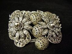 Fantastic Very Ornate Early Haskell Floral Bracelet (BR457) #MiriamHaskell