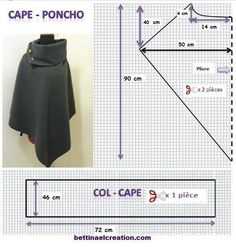 Made in france: DIY: Cape/ Poncho, tutoriel couture gratuit sew einfach clothes crafts for beginners ideas projects room Poncho Pattern Sewing, Dress Sewing Patterns, Clothing Patterns, Skirt Sewing, Cape Pattern, Kimono Pattern, Sewing Scarves, Sewing Clothes, Diy Clothes