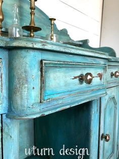 Sold Sold Turquoise painted buffet teal farmhouse