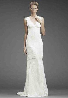 V Neck Sheath Wedding Dress