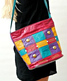 80s patchwork bag, colours are wow!