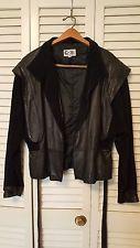 Vtg G-III Black Leather & Suede Crop Women's Jacket Sz 15/16