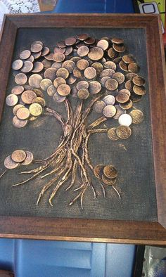 "Explore our internet site for additional relevant information on ""metal tree art diy"". It is actually an outstanding location to get more information. Metal Tree Wall Art, Metal Art, Art Altéré, Coin Crafts, Glue Art, Coin Art, Art Diy, Money Trees, Button Art"