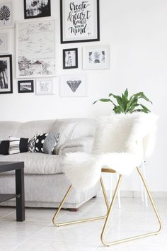 The perfect chair calls for just a touch of spray paint, a kitchen chair and some faux fur. Metallic and fur are a timeless combination that provide texturized glamour.
