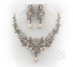 Wedding Necklace Earrings set Swarovski Pearl Zirconia Rhinestone Necklace Earrings Wedding Jewelry Bridal Jewelry Wedding Accessory ribbon on Etsy, $88.00