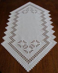 HARDANGER Embroidery – elegant white TABLE-RUNNER - handmade