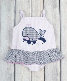 Look what I found on #zulily! Lavender Stripe Whale Skirted One-Piece - Infant, Toddler & Girls #zulilyfinds