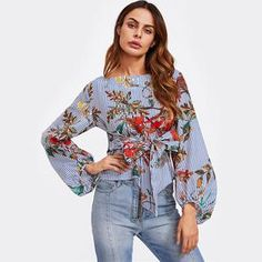 Lantern Sleeved Belted Blouse With Floral Print womenswear trendy stylish fashion clothing style free shipping worldwide Maiore fashion store clothingbrand fashionbrand
