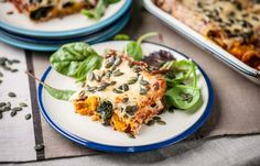 A delicious way to use pumpkin - in Cannelloni with spinach.