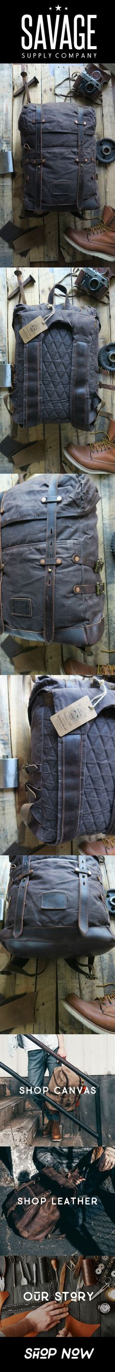 bc6060e0b2d Waxed canvas adventure hiking camping backpack by Savage Supply Co.  Adventure Gear