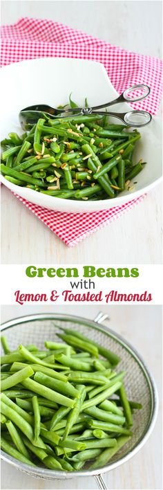 Green Beans with Lemon and Toasted Almonds...100 calories and 3 Weight Watchers PP for a quick and healthy side dish!   cookincanuck.com #vegetarian #recipe