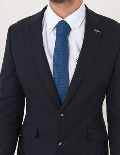 This plain navy tie from Gibson London has a patterned knit texture and contrast silk trim to the underside of the neck. The square end tie is dry clean only. Knit Tie, Suit Jacket, Navy, Clothing, Jackets, Men, Fashion, Hale Navy, Outfits