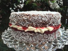 What's better than a chocolatey, coconutty, cream filled, jam embellished lamington? All of the above in a big Chocolate Jam-n-Cream Lamington Sponge Cake! Lamington Cake Recipe, Cake Recipes, Dessert Recipes, Desserts, Big Chocolate, Sponge Cake, Tiramisu, Cooking Recipes, Cream