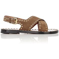 Isabel Marant Women's Jane Sandals ($610) ❤ liked on Polyvore featuring shoes, sandals, brown, suede shoes, stacked heel sandals, embellished sandals, slingback sandals and strappy sandals