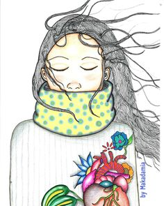 Winter Girl.  #winter #illustration #makadamia