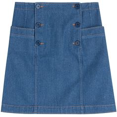 A.P.C. Button Front Denim Skirt (€86) ❤ liked on Polyvore featuring skirts, blue, blue skirt, denim skirt, button front skirt, knee length denim skirt and button-front denim skirts