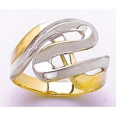 Amazon.com: Gold Ring Ring Two-color Entwined Swirl Contemporary Ring Cut-out: Million Charms: Jewelry