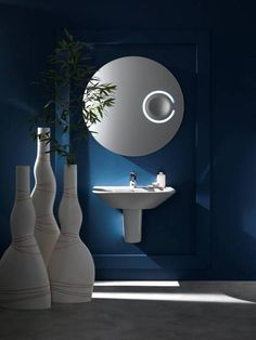Bathroom, : Cool Bathroom Design Ideas With White Washbasin And White Vases Of Plants Combine With Round White Mirror Also Blue Wall Paint And Grey Flooring