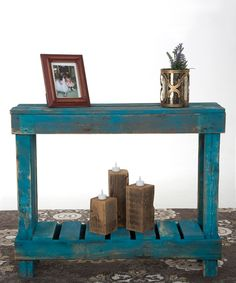 Another great find on #zulily! Turquoise Distressed Sofa Table by DelHutson Designs #zulilyfinds