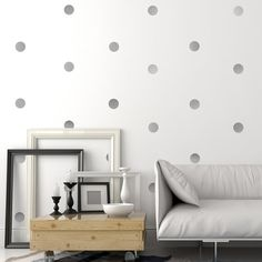 Gold or Silver Metallic 4 inch Dots Wall Decals
