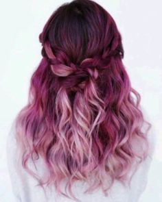 Amazing Purple Ombre Hair Ideas a few years ago, if you thought purple hair … - Hair Women Beauty Magenta Hair Colors, Color Red, Pink Purple Hair, Ombre Purple Hair, Ombre Colour, Violet Ombre, Red Ombre, Yellow Hair, Purple Braids
