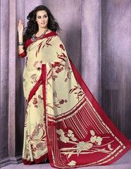 Cream & Red Color Chiffon Daily Wear Sarees : Yogini Collection YF-27283